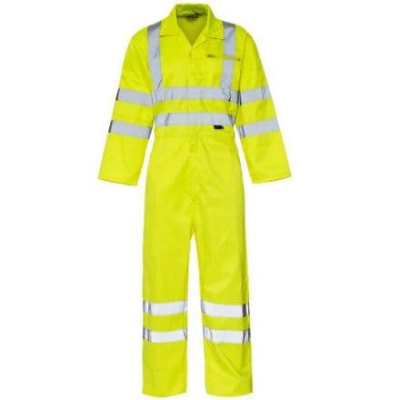 Supertouch Hi Vis Viz Coverall Overall Safety Workwear Boiler Suit - Yellow